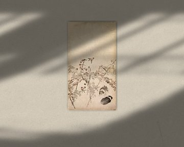 Nagasawa Rosetsu.Welpen, Spatzen und Chrysanthemen