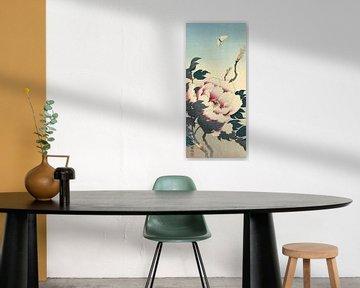 Pioenroos met vlinder, Ohara Koson