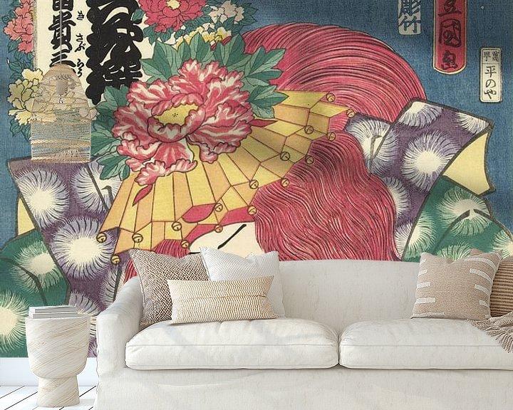 Beispiel fototapete: Pfingstrosen aus Shakkyo, Kunisada (I), Utagawa