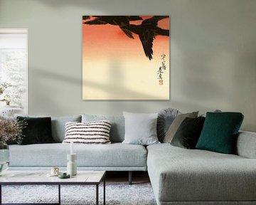 Krähen gegen einen roten Himmel, Shibata Zeshin