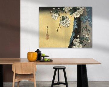 Moosiger Stamm und Kirschblüten, Hiroshige