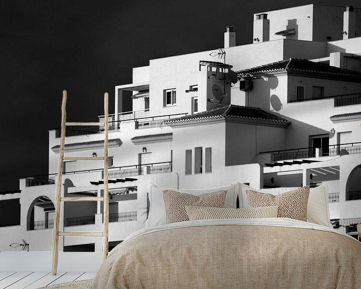 Sfeerimpressie behang: Witte huizen, Spanje (zwart-wit) van Rob Blok
