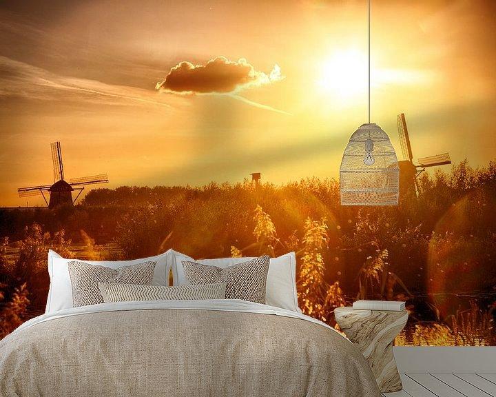 Beispiel fototapete: Kinderdijk Mühlen im Sonnenuntergang von Pierre Wolter