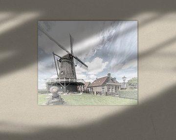 """Windmolen in het dorp """"Sloten"""" in """"Friesland"""" Nederland van Dick Jeukens"""
