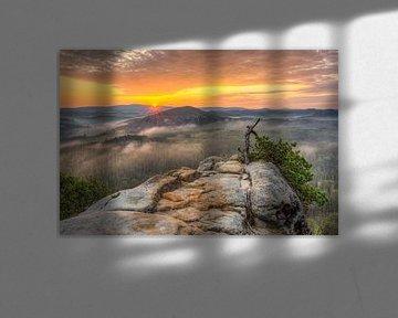 Saxon Switzerland sunrise van Michael Valjak