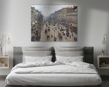 Boulevard Montmartre in de ochtend bij bewolkt weer, Camille Pissarro