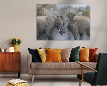 Vechtende olifanten Pilanesberg National Parc Zuid Afrika van Ralph van Leuveren