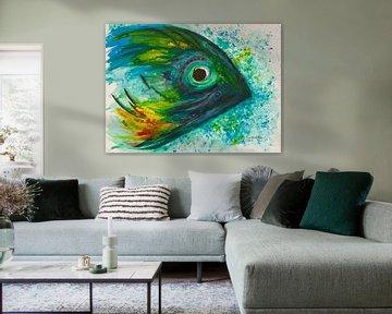 Blauw met groene vis. van Ineke de Rijk