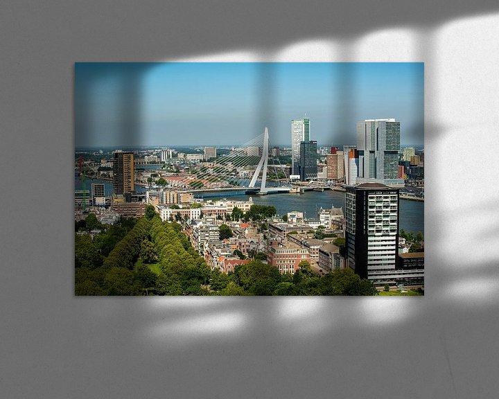 Sfeerimpressie: Erasmusbrug Rotterdam vanaf de Euromast. van Brian Morgan