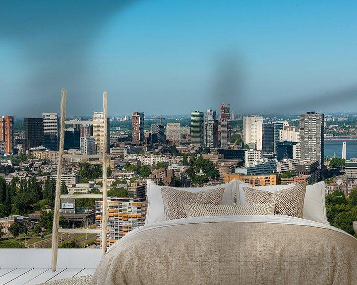 Sfeerimpressie behang: De Stad Rotterdam vanaf de Euromast. van Brian Morgan