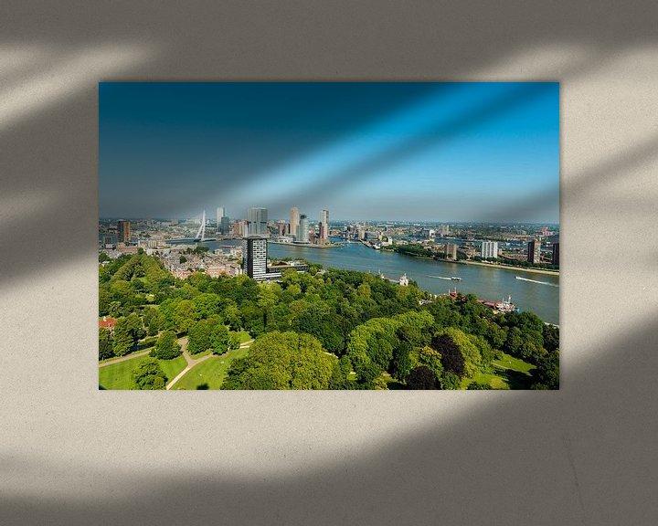 Sfeerimpressie: Stadsgezicht van Rotterdam met de Erasmusbrug. van Brian Morgan