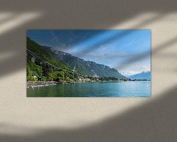 Highway langs het meer van Genève, Zwitserland