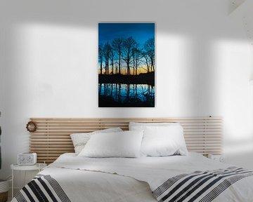 Bäume malen Sonnenaufgang von Bianca ter Riet