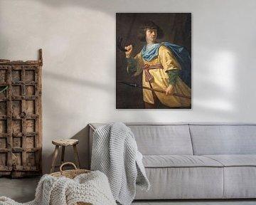 Portret van een jonge man met spies en jachthoorn, Peter Danckerts de Rij