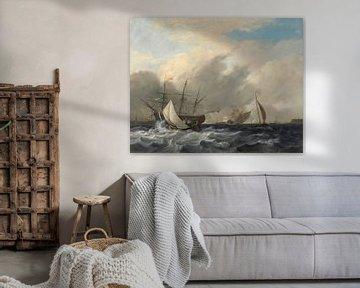 's Lands oorlogsschip 'Amsterdam' voor de Westerlaag op het IJ voor Amsterdam., Nicolaas Baur