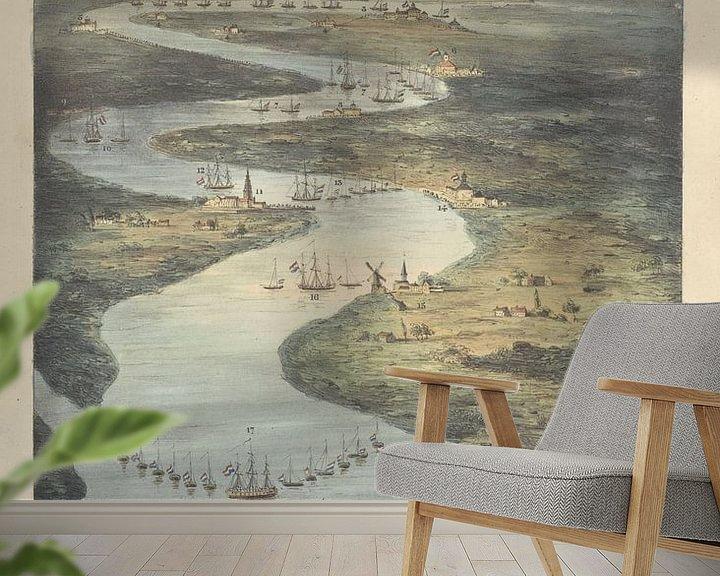 Beispiel fototapete: Loop van de Schelde van Fort Bath tot Antwerpen, 1832, J.B. Clermans