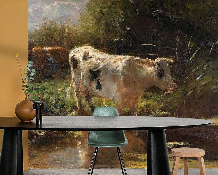 Beispiel fototapete: Kuh auf der Grabenseite, Willem Maris