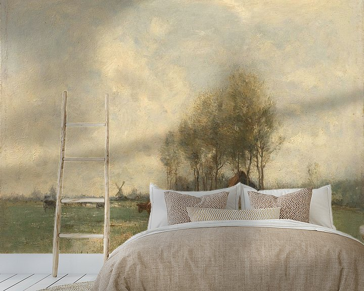 Sfeerimpressie behang: Weide met koeien, Willem Maris