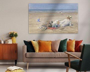 Rustend kindermeisje met twee kinderen op het strand, Johan Antonie de Jonge