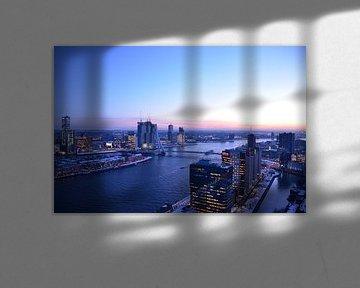Rotterdam Skyline under a soft blue sky van Marcel van Duinen