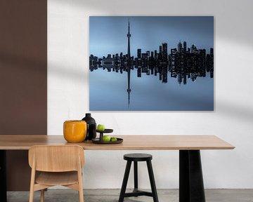 Toronto Skyline reflectie tijdens het vallen van de avond
