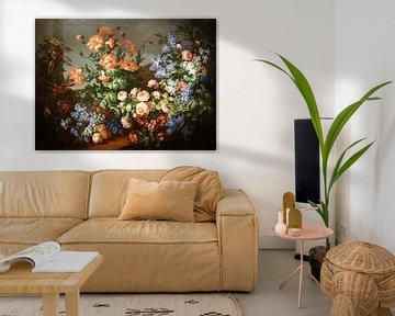 Stilleven met bloemen, vruchten, een papegaai en een aap, van Jean-Baptiste Monnoyer en Antoine Monn
