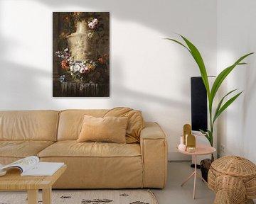 Marmeren vaas met bloemenkrans, Jean-Baptiste Monnoyer