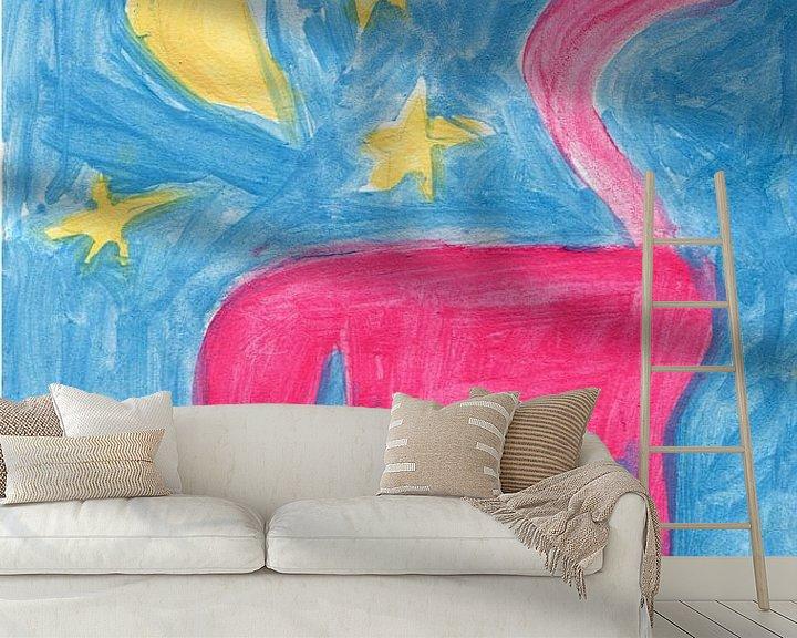 Sfeerimpressie behang: paard, maan en sterren van Verbeeldt