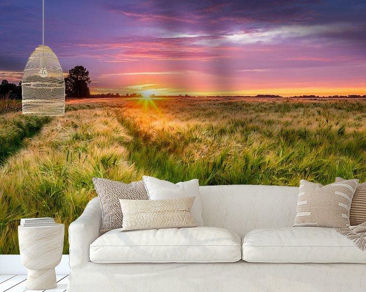 Sfeerimpressie behang: Zonsondergang boven een gerst veld van Ellen van den Doel