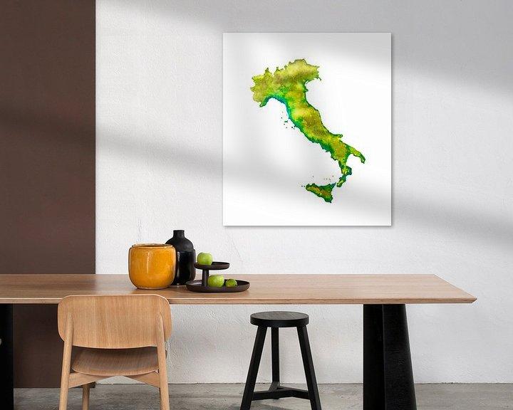 Beispiel: Italien | Landkarte in Aquarell | Auch als Wandkreis von Wereldkaarten.Shop