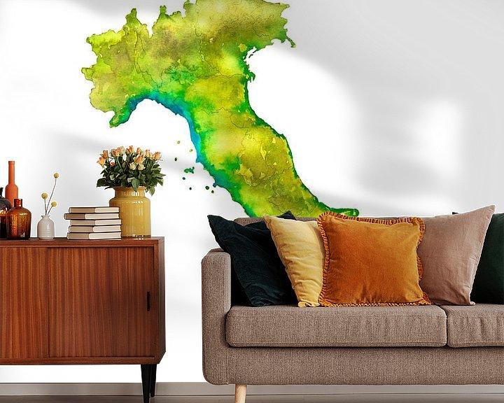 Beispiel fototapete: Italien | Landkarte in Aquarell | Auch als Wandkreis von Wereldkaarten.Shop