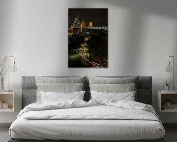 Sydney Harbour Bridge by night van Cathy Janssens