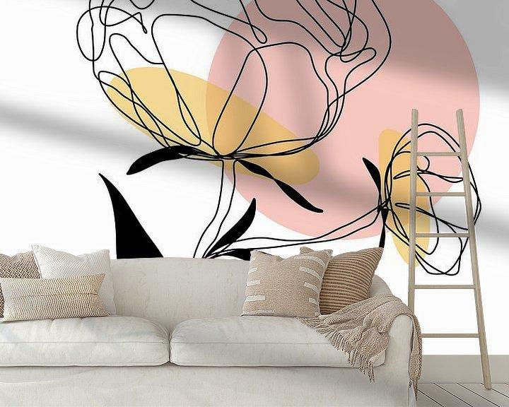 Sfeerimpressie behang: One line drawing Pioenroos van Ankie Kooi