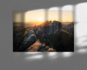Schrammsteine zum Sonnenuntergang van Thomas Franke