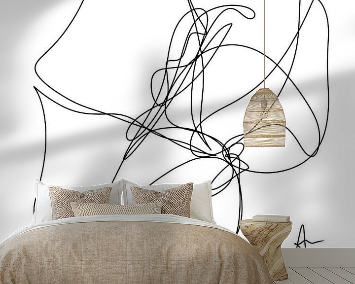 Sfeerimpressie behang: One line drawing Klaproos (gezien bij vtwonen) van Ankie Kooi