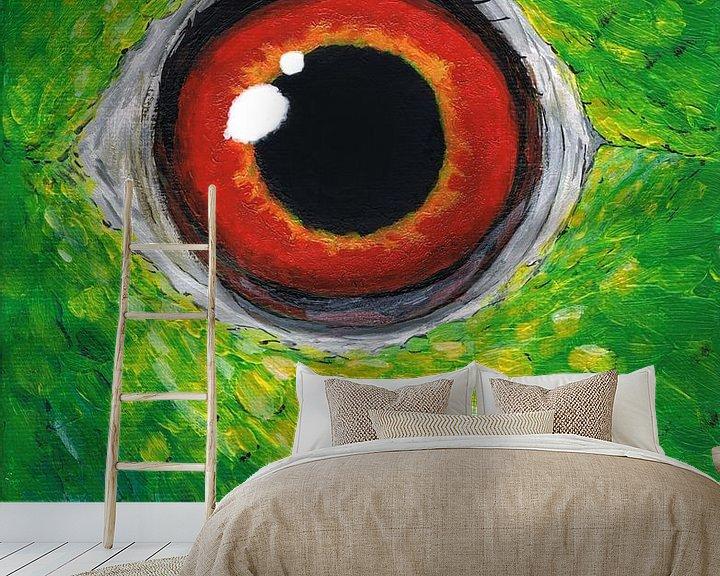 Beispiel fototapete: Amazon Papagei Auge von Bianca Wisseloo