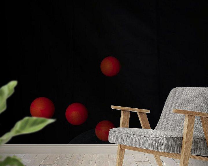 Sfeerimpressie behang: tafeltennis met één balletje van John Driessen
