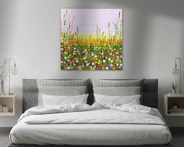 Gemälde Blumenfeld pastellfarben von Bianca ter Riet