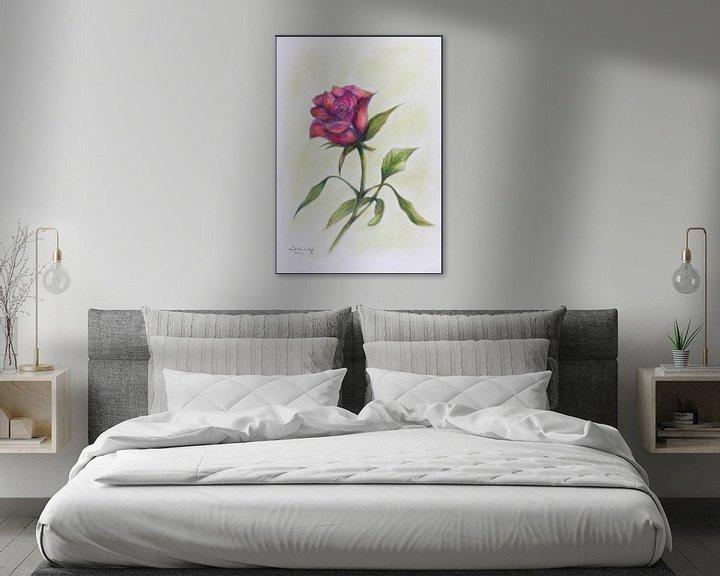 Sfeerimpressie: Roze roos. van Ineke de Rijk