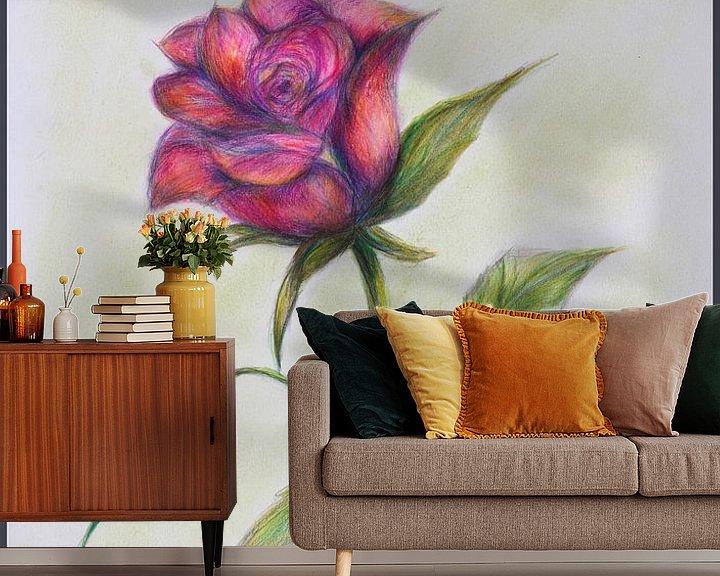 Sfeerimpressie behang: Roze roos. van Ineke de Rijk
