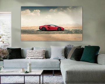 Lamborghini Aventador S Roadster vs. routes du désert II sur Dennis Wierenga