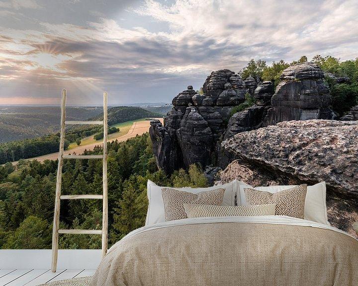 Beispiel fototapete: Elbsandsteingebirge - Ausblick im Abendlicht von Ralf Lehmann