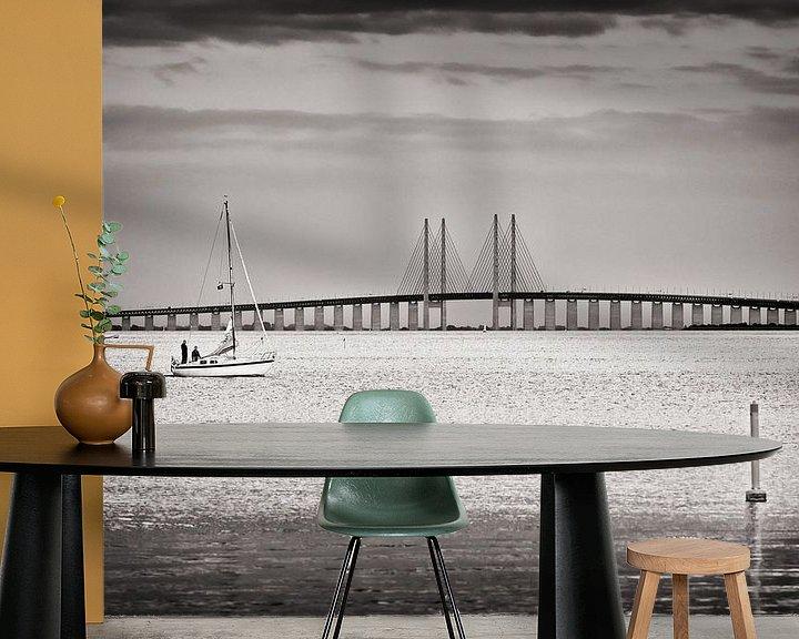 Sfeerimpressie behang: Black and White Photography: Øresund Bridge van Alexander Voss