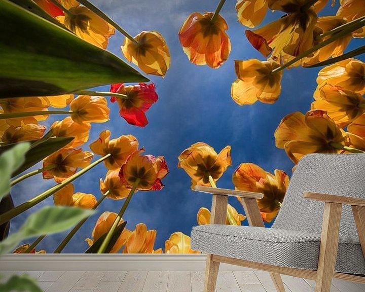 Sfeerimpressie behang: Tulpen van onderaf van Marjolijn van den Berg