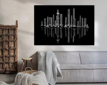 Skyline van Shanghai in zwart wit von Cees Petter