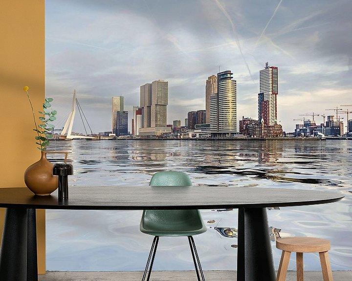 Sfeerimpressie behang: Waterspiegeling Wilhelminapier van Frans Blok