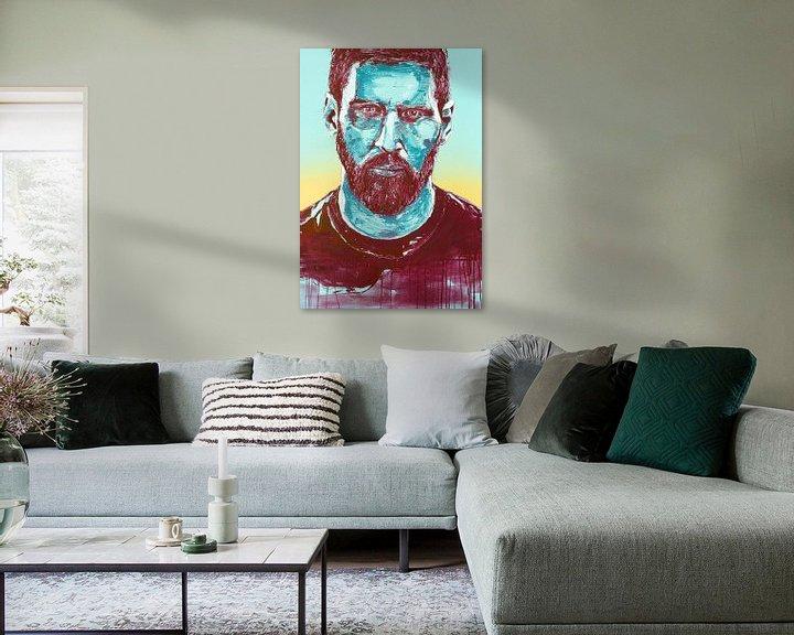 Sfeerimpressie: Lionel Messi, (FC Barcalona) schilderij van Jos Hoppenbrouwers