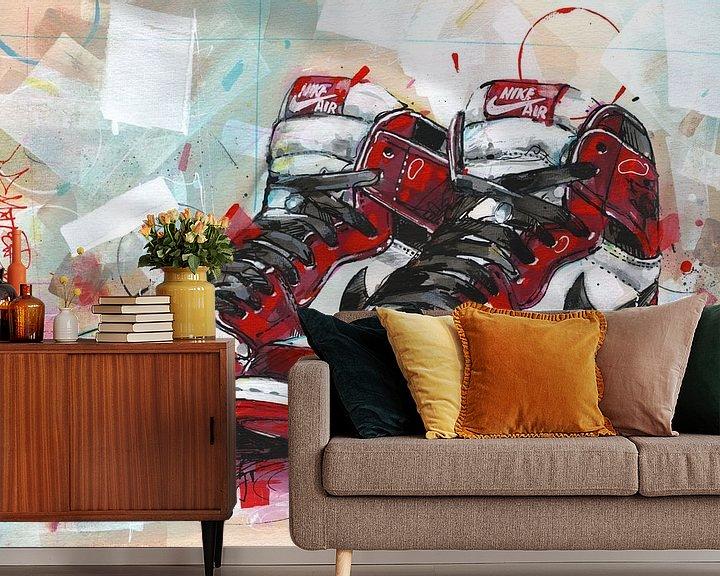 Beispiel fototapete: Nike Air Jordan Retro 1 Chicago Malerei von Jos Hoppenbrouwers