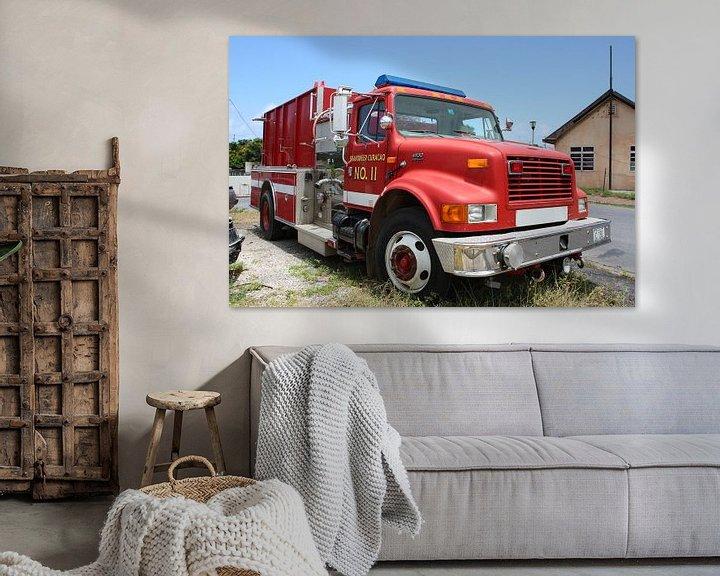 Sfeerimpressie: brandweerwagen bij brandweerkazerne willemstad curacao van Frans Versteden
