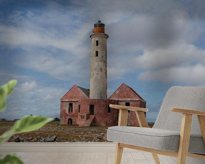 Sfeerimpressie behang: vuurtoren - lighthouse op klein curacao van Frans Versteden